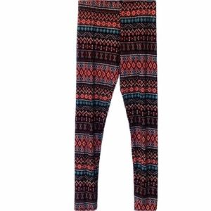 Just One Patterned Multicolor Leggings Size Large